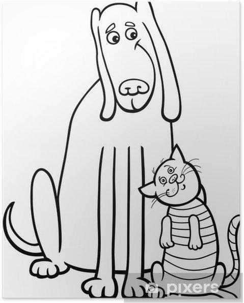 Póster Perro y gato de dibujos animados para colorear libro • Pixers ...