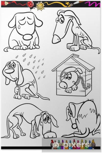 Póster Perros Tristes Grupo De Dibujos Animados De Libro Para