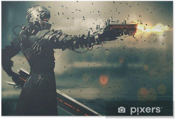 Póster Personaje de juego de ciencia ficción en un traje futurista apuntando con un arma, arma de fuego, ilustración. - Hobbies y entretenimiento