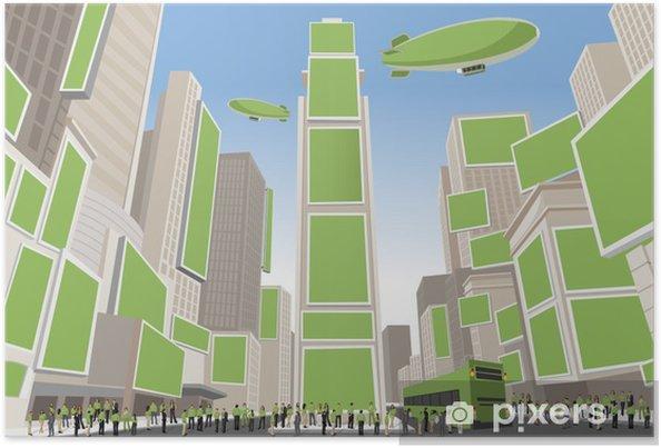 Poster Personnes portant des vêtements verts à Times Square, Manhattan - Paysages urbains