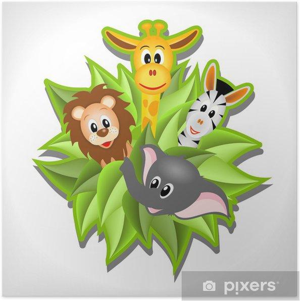 Poster Petit éléphant de bande dessinée, girafe, lion et le zèbre - Mammifères
