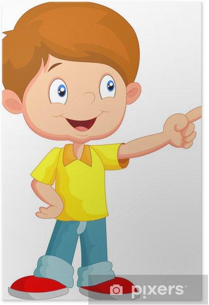 Poster Petit garçon pointant loin - Enfants