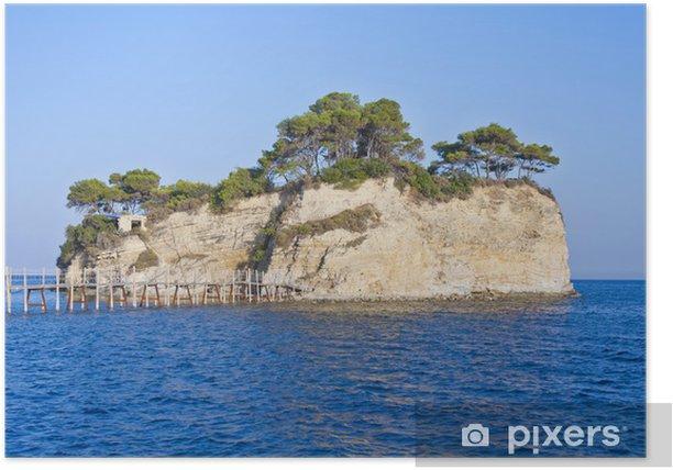 Poster Petit îlot Agios Sostis relié par un pont à Zakynthos est - Îles