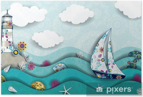 Poster Phare du paysage et décorées bateau - Phare