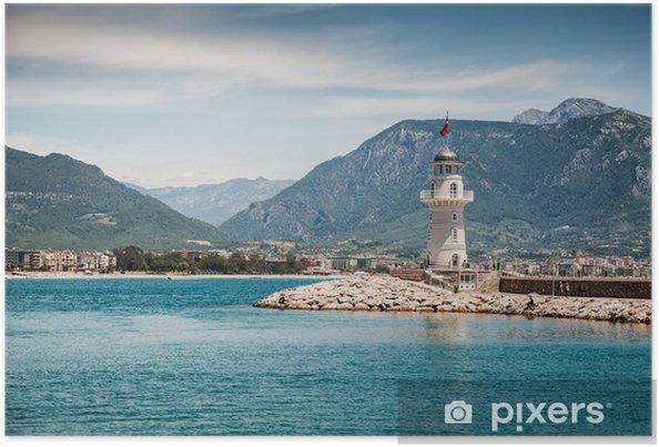 Poster Phare par la mer à Alanya, Turquie - Vacances