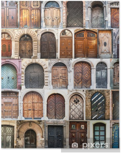 photo collage of old doors Poster - European Cities