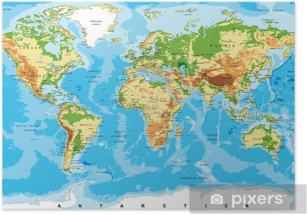 Physical map of the world Poster - Other