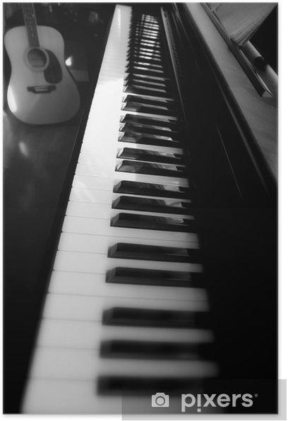 Piano keyboard and guitar Poster - Music