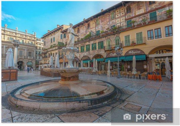 Poster Piazza delle Erbe et le Palazzo Maffei, Verona, Italie - Vacances