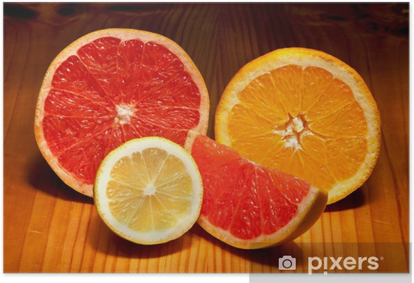 pieces of lemon, red grapefruit and orange Poster - Fruit