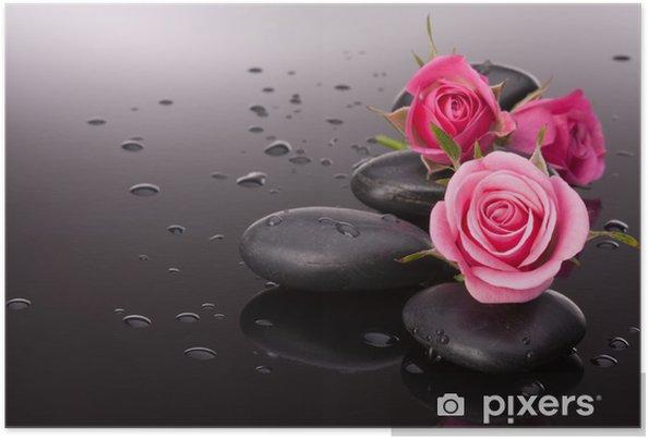 Póster Piedra del balneario y flores color de rosa still life. Concepto de salud. - Temas