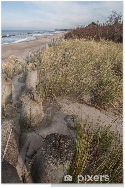 Póster Piedras de hormigón en la costa norte de Polonia - Europa