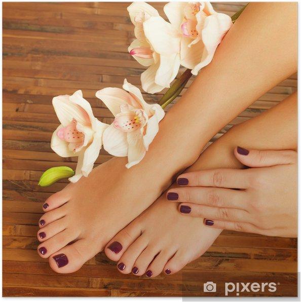 Poster Pieds femelle au salon de spa sur la procédure pédicure -