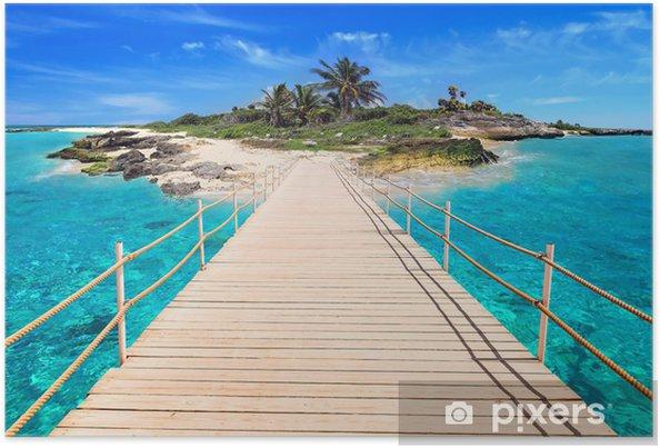 Poster Pier naar het tropische eiland van de Caribische Zee - Palmbomen