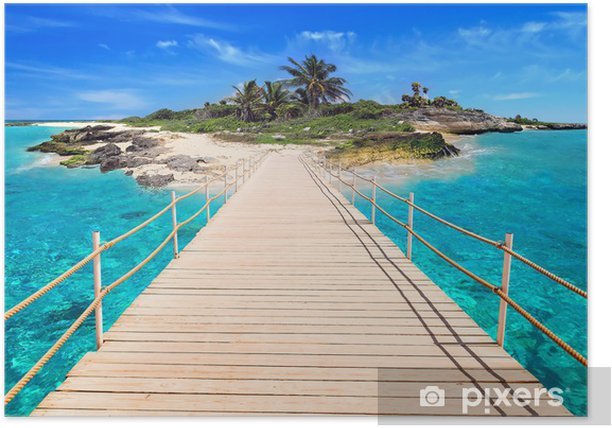 Pier to the tropical island of Caribbean Sea Poster - Palm trees