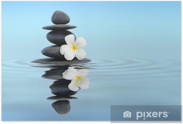 Poster Pierres zen avec des frangipaniers - Religion