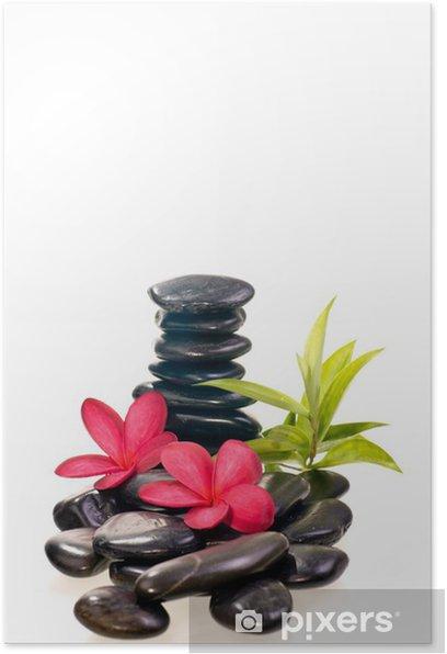 Poster Pierres zen noir avec des fleurs de frangipanier rouges - Beauté et soins du corps