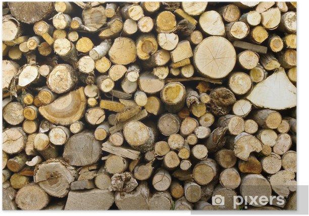 Poster Pile de bois de chauffage - Textures