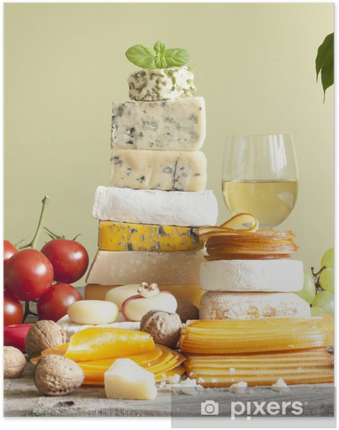 Pile of cheese many various types with wine grapes and nuts Poster