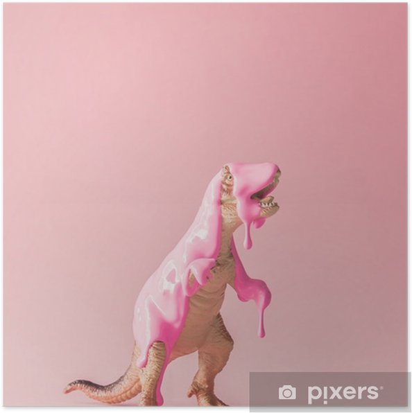 Pink paint dripping on dinosaur toy. Creative minimal concept. Poster - Animals