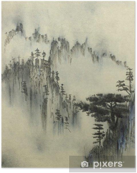 Póster Pino de montaña y la niebla - Hobbies y entretenimiento