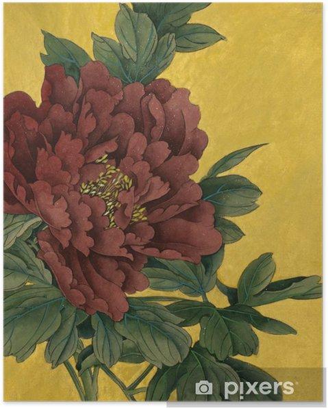 Poster Pioen bloem op een gouden achtergrond - Bloemen en Planten
