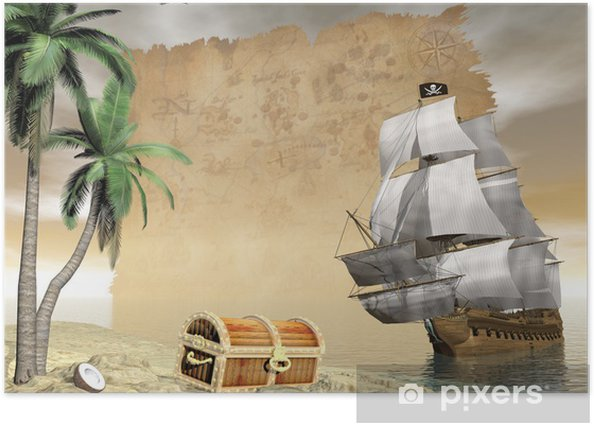 Pirate ship finding treasure - 3D render Poster -