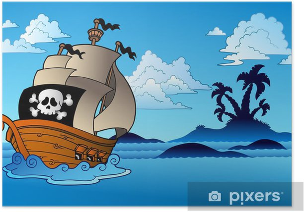 Pirate ship with island silhouette Poster - Destinations