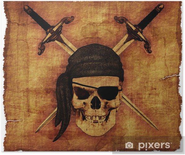 Póster Pirate Skull en Pergamino Viejo - Celebraciones internacionales