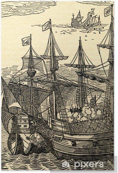 Poster Pirates attaquent navire espagnol - Bateaux