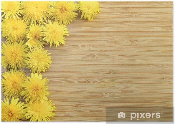 Poster Pissenlits sur bois avec copie espace - Saisons