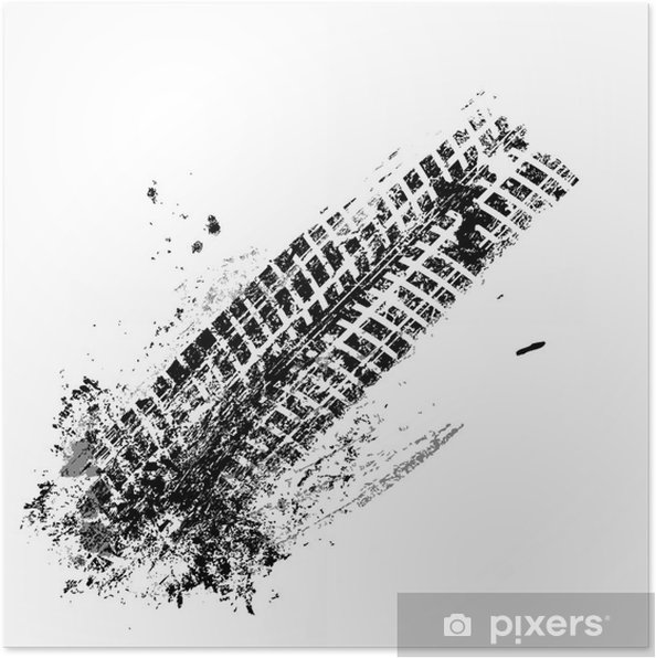 Póster Pista del neumático de Grunge negro sobre fondo blanco, vector - Recursos gráficos