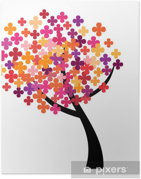 Poster Pixel Arbre - Sticker mural