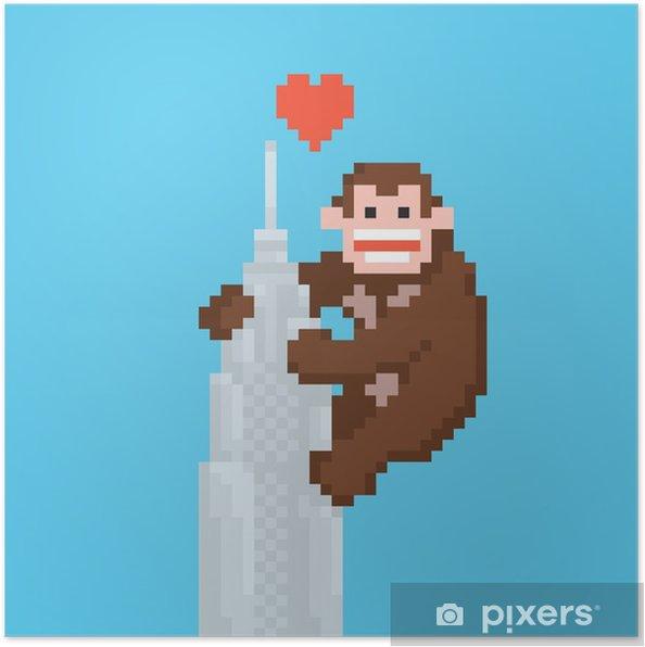 Póster Pixel gorila del estilo del arte en un vector de rascacielos - Animales