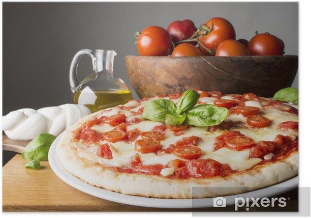 Poster Pizza avec des ingrédients sur la table en bois - Thèmes