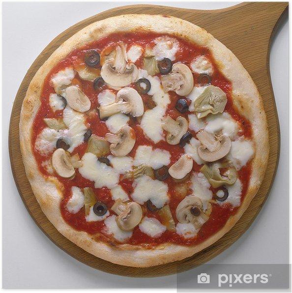 Poster Pizza capricciosa intera su pala di legno - Destin