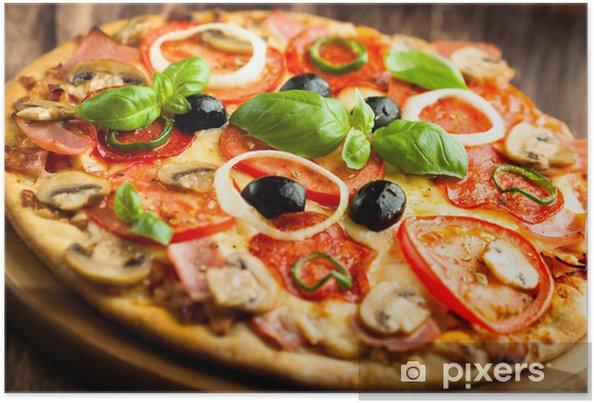 Poster Pizza met champignons, salami en Chili Pepper - Thema's