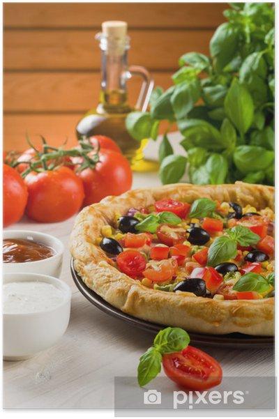 Poster Pizza sur la table en bois - Thèmes