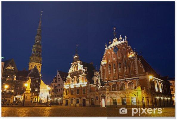 Poster Place de la Mairie, Riga, Lettonie - Paysages urbains