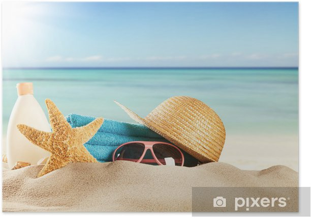 Poster Plage de sable avec des accessoires et flou mer - Sports collectifs