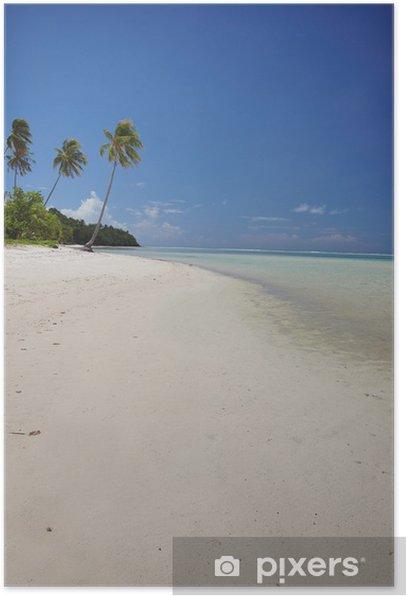 Poster Plage de sable blanc avec des palmiers, Polynésie française - Océanie