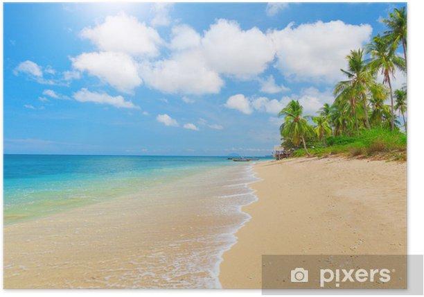 Poster Plage tropicale avec cocotiers - Eau