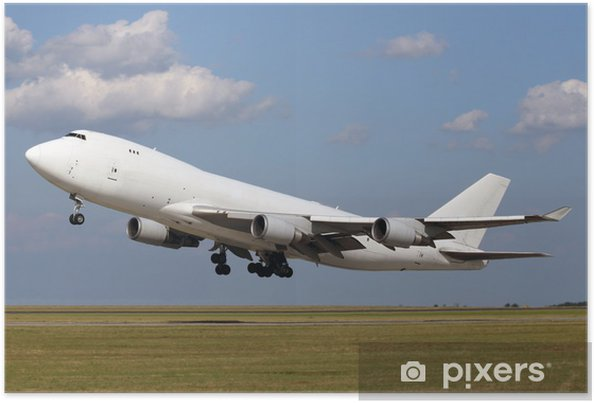 Poster Plan blanc décoller avec des nuages dans le ciel bleu - Thèmes