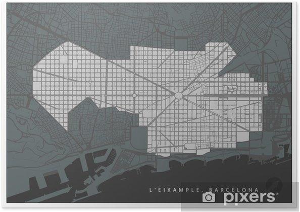 Carte Eixample Barcelone.Poster Plan De Quartier De L Eixample A Barcelone En Noir Et Blanc