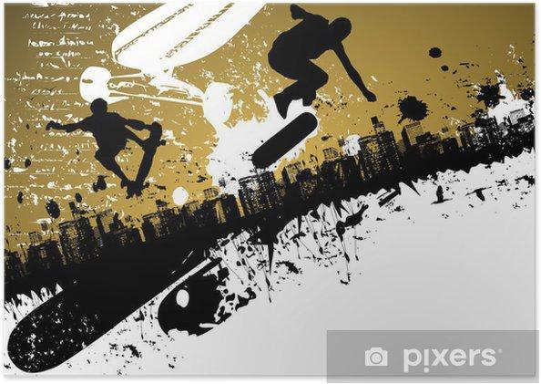 Poster Planche à roulettes abstraite fond de ville - Skateboarding