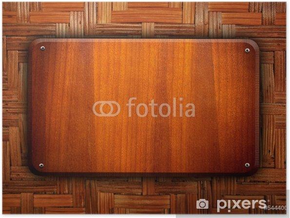 Poster Planche de bois sur fond de rotin - Industrie lourde