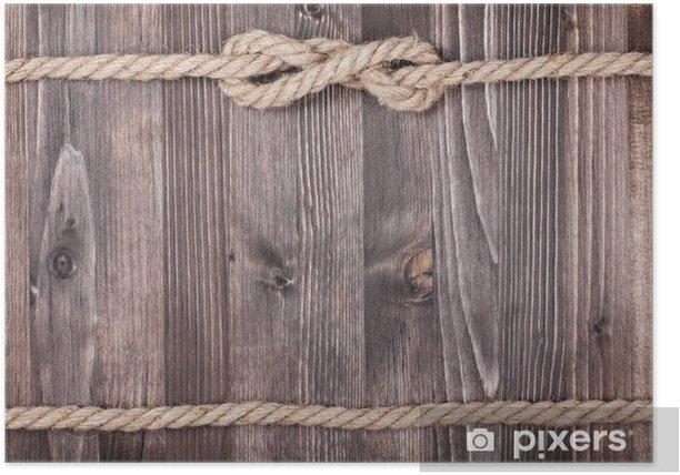 Poster Planches en bois avec un fond de corde - Thèmes