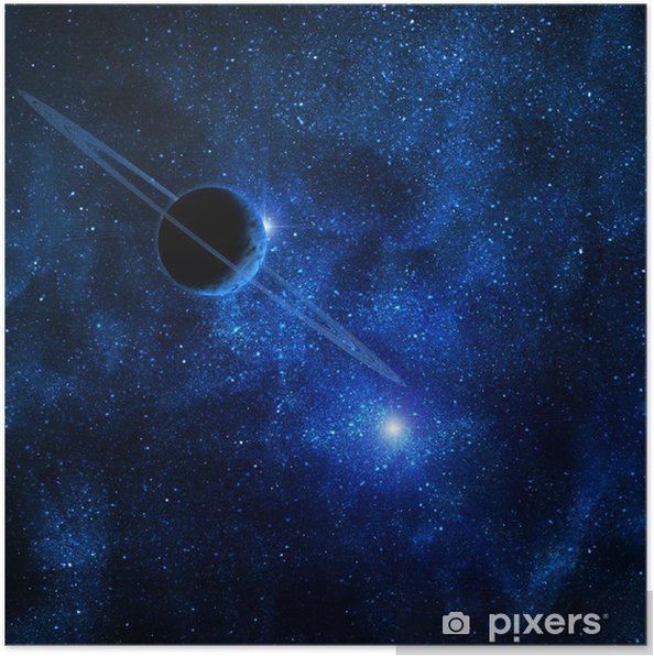 Poster Planète avec des anneaux contre le soleil dans l'espace bleu - Arrière plans