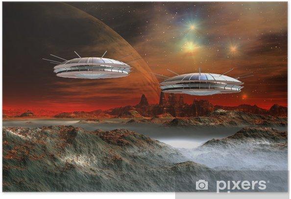 Poster Planète Et vaisseaux extraterrestres - Tableau informatique - Nature et régions sauvages