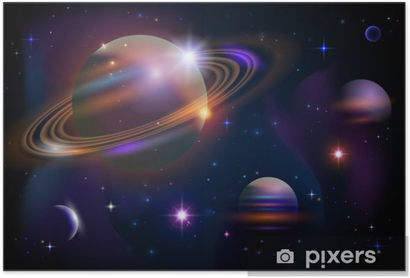 Poster Planeten en de ruimte. - Heelal